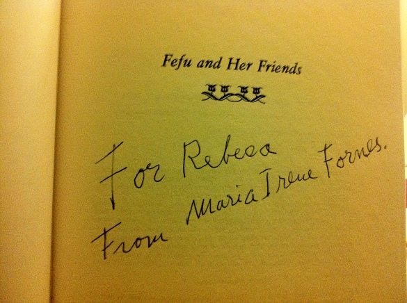 "My most prized possession. The amazing story won't move you unless you know who Maria Irene Fornes is, but long story short, she has dementia, no one thought she'd ever write again, someone encouraged me to ask for an autograph despite this, after a bit of pressure on all sides I said, ""no, it's fine, I don't mind,"" and then all of a sudden Irene wrote in my book. Her documentarian, friends, agent, etc. all passed this around. Who knows-- I may have one of the last specimens of Irene's writing."